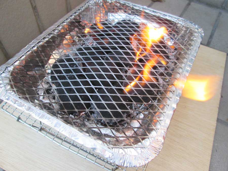 インスタントコンロ 炭に火が点く