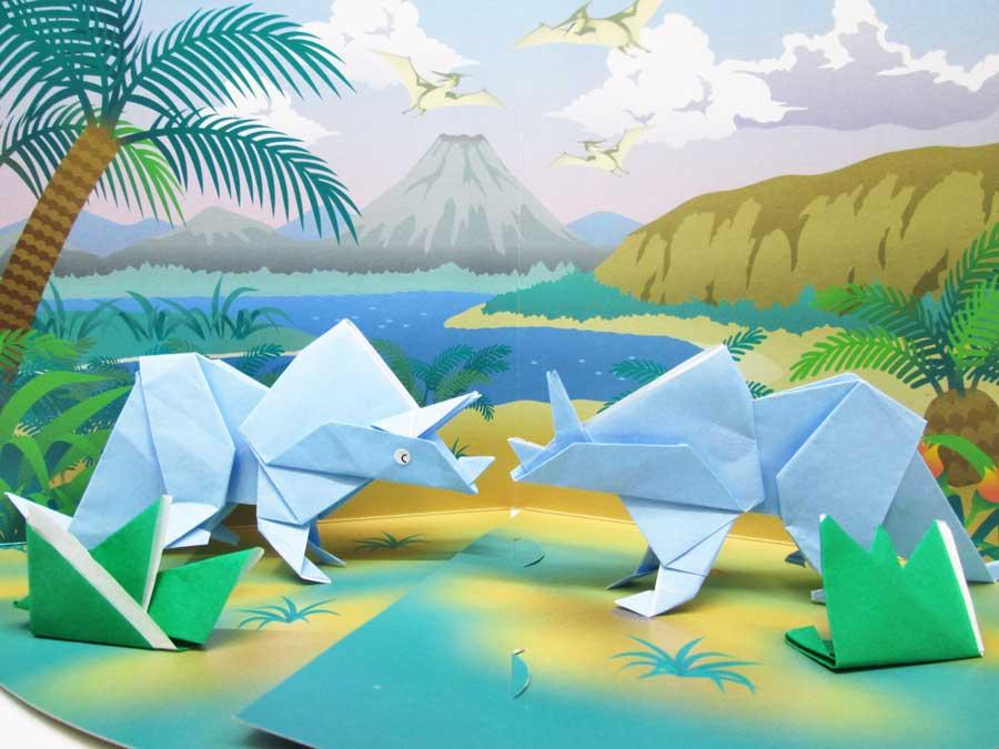 セリア 恐竜折り紙 完成