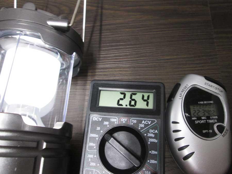 ダイソー 6SMD 伸縮ランタン 点灯実験11