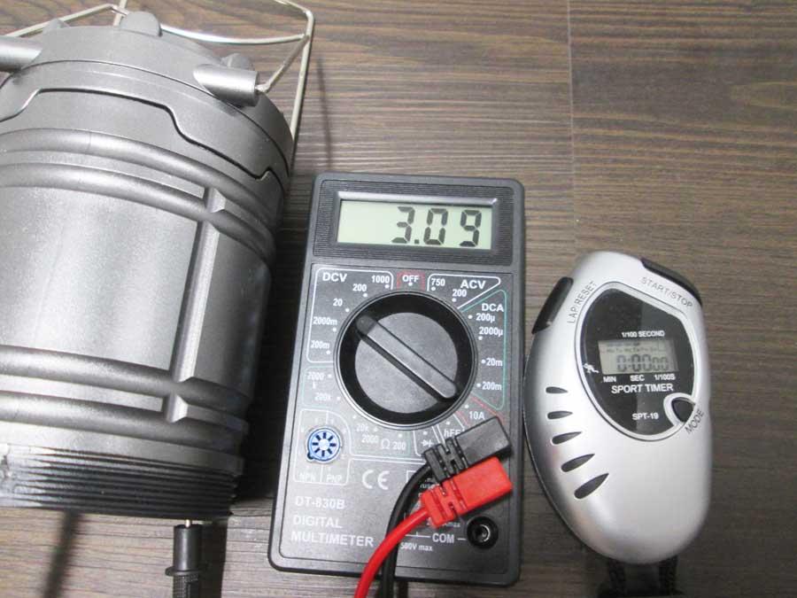 ダイソー 6SMD 伸縮ランタン 点灯実験17