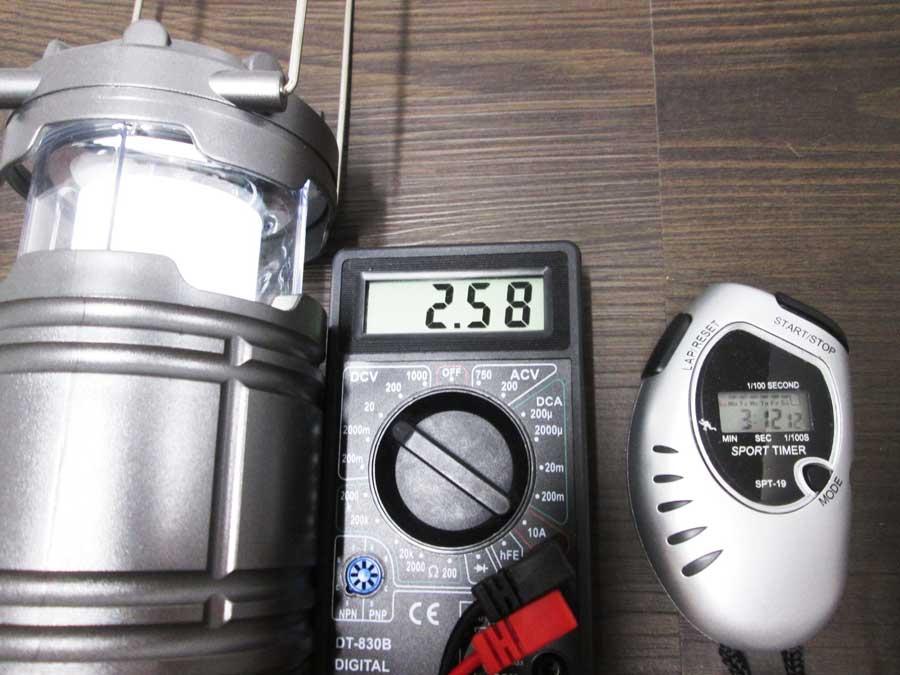 ダイソー 6SMD 伸縮ランタン 点灯実験18
