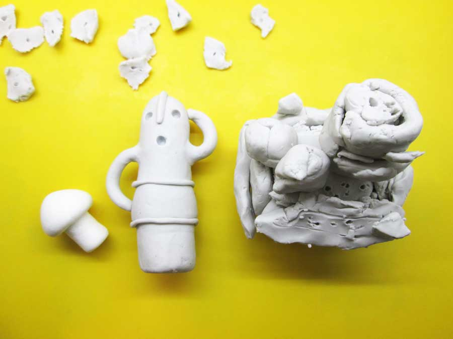 ダイソー 蓄光紙粘土 油粘土 作品