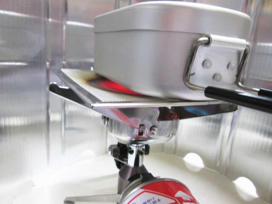 セリア 防風板 シングルバーナー 調理2
